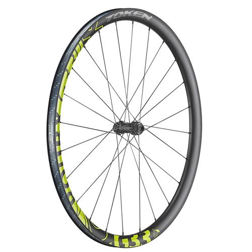 hjul-token-gravel-700c-g33-cl-ca-sort/gul-D1-alu-sort-disc-alm